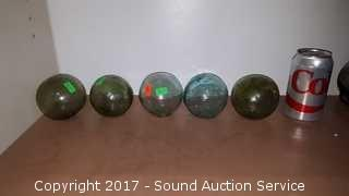 """(5) Antique 3.5"""" Japanese Glass Fishing Floats"""