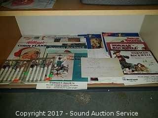 Norman Rockwell Calendars, Pens & Kelloggs Box