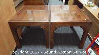 Pair of Henredon Oak Side Tables