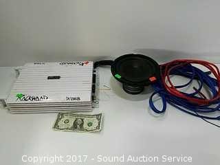 """Rockwood 300w AMP, Vtg. 5"""" Speaker & Cords"""