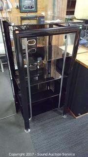 Modern Glass Shelf 5 Tier Media Cabinet
