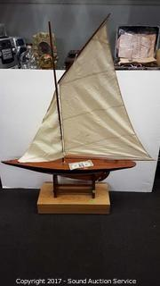 Wooden Model Sail Ship w/Stands