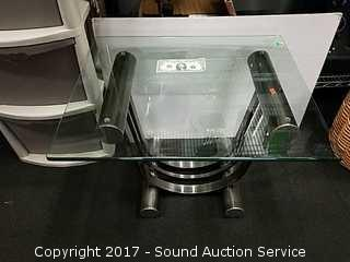 Contemporary Metal Base Glass Top Side Table