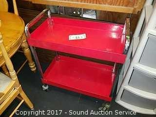 Steel 2 Tier Rolling Shop Cart