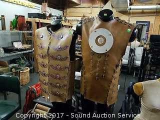 Pair of Unique Homemade Vinyl Vests