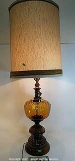 "43"" Metal & Wood Base Glass Globe Table Lamp"