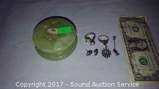 Jade Trinket Box w/Sterling Silver Jewelry