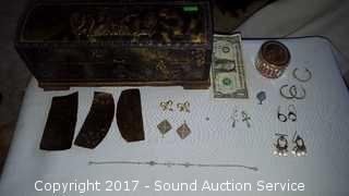 Cherub Tin Wrapped Trinket Box w/Jewelry