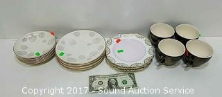 Set of 4 Diane Pottery Plates & Saucers & Others
