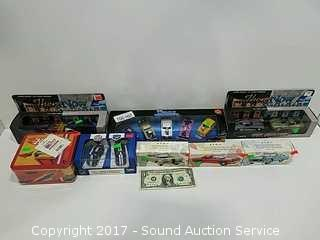 11 Die Cast Sports Cars, Avon Decanters &Lunch Box