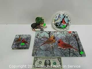 Cardinals Themed Tray, Coasters & Thermometer