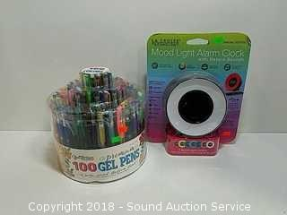 Like New Mood Light Alarm Clock & 100 Ct. Gel Pens
