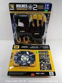 Like New LED Work Light & (2) Pairs of Work Gloves