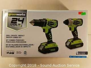 NIB Greenworks 24V Drill Driver & Impact Kit
