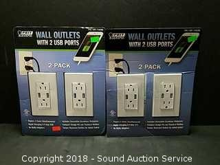 (2) 2-Packs of Feit Wall Outlets w/USB Ports