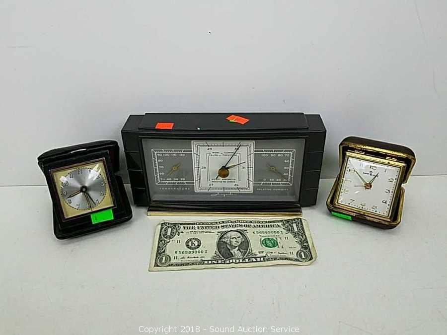 Vtg Mantle Barometer Travel Alarm Clocks