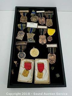 Vtg. School Medals, Cufflinks & Tie Tacks