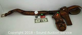 Leather Gun Holster/Belt, Toy Gun & 177 cal Pellets