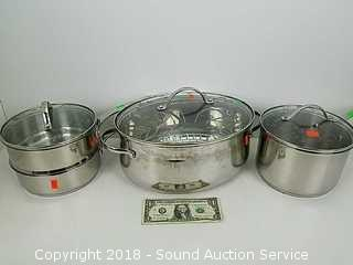 (3) Stainless Princess House Pots, Double Boiler & Dutch Oven
