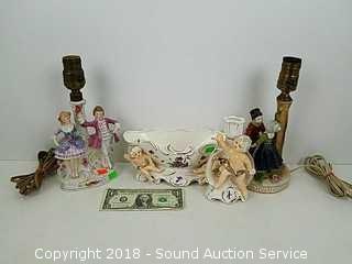 Vtg. Porcelain Table Lamps, Candle Holder & Dish