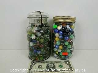 (2) 1 QT Glass Jars of Vtg. Marbles