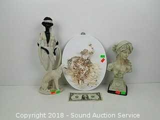 (3) Composite Figurine, Bust & Porcelain Plaque