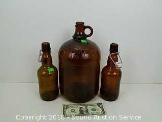 Vtg. Purex & Grolsch Brown Glass Bottles