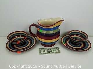 5pc. Longaberger Pottery Multi-Color Dishes