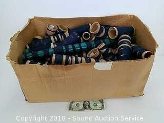Box of Dark Blue Spools of Thread