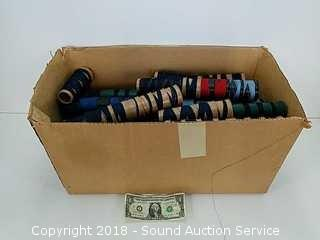 Box of Spools of Thread - Various Colors