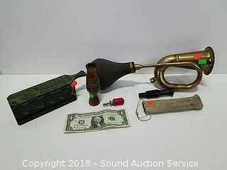 Antique Brass Car Horn & Game Calls