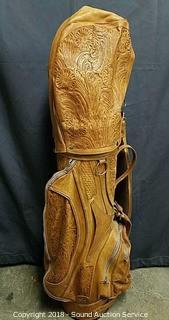 Stamped & Monogrammed Leather Golf Bag