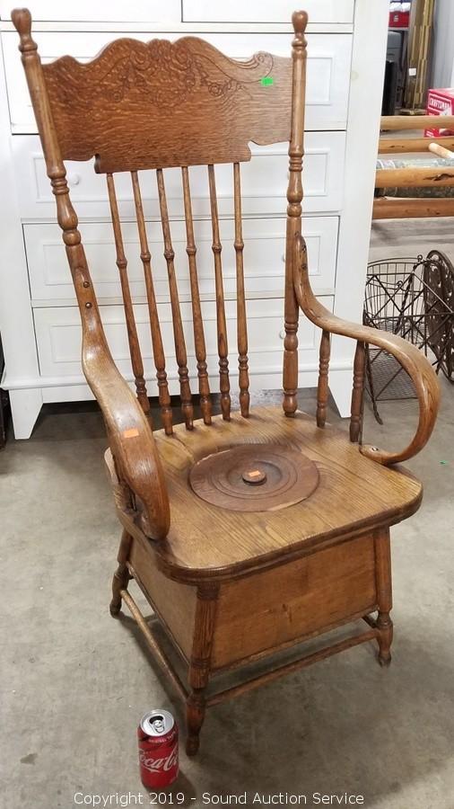 Sound Auction Service   Auction: Stablein U0026 Others Estate Auction ITEM: Primitive  Antique Oak Bent Wood Chair Commode